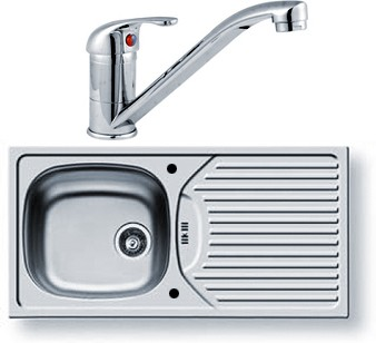 Kitchen Sink, Waste & Tap. 860x435mm (Reversible). additional image