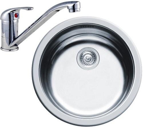 Round Kitchen Sink, Waste & Tap. 450mm Diameter. Pyramis PY-SINK ...