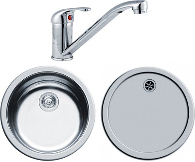 Round Kitchen Sink, Drainer & Tap With Wastes. 450mm Diameter. additional image