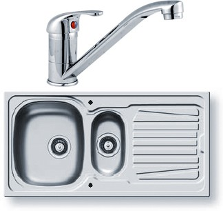 Sparta Kitchen Sink, Tap & Waste. 1000x500mm (1.5 Bowl). additional image