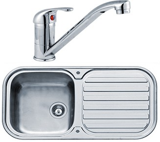 Kitchen Sink, Tap & Waste. 960x480mm (Reversible, Deep Bowl). additional image