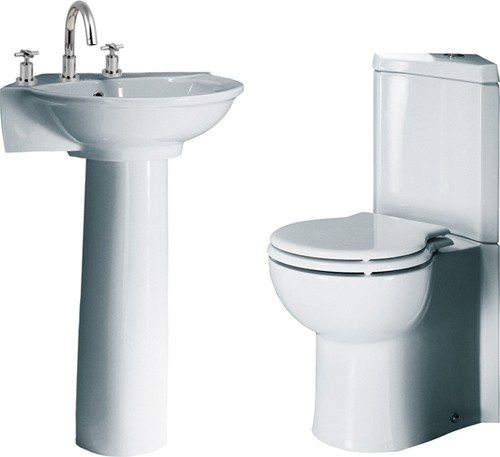 4 Piece Corner Bathroom Suite With 3 Tap Hole Basin. additional image