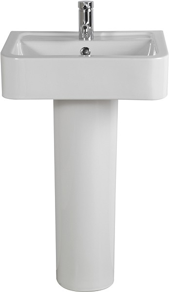 Basin & Pedestal (1 Tap Hole).  Size 510x400mm. additional image
