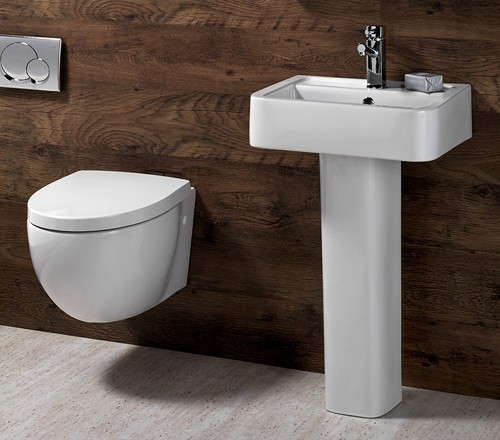 3 Piece Bathroom Suite, Wall Hung Toilet Pan & 58cm Basin. additional image