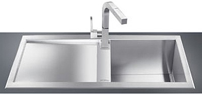 1.0 Bowl Low Profile Stainless Steel Sink, Left Hand Drainer. Smeg ...