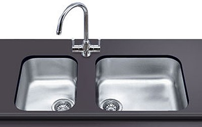 1.0 Bowl Oval Stainless Steel Undermount Kitchen Sink. 300mm. Smeg ...