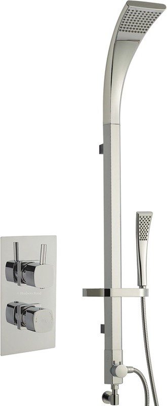 Twin Thermostatic Shower Valve & Modern Rigid Riser Kit. additional image