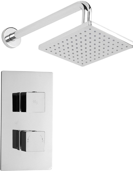 Twin Concealed Thermostatic Shower Valve & Fixed Head. additional image
