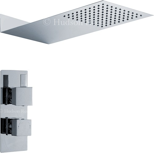 Twin Thermostatic Shower Valve & Thin Shower Head. additional image