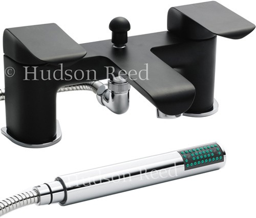 Bath Shower Mixer Tap + Shower Kit (Black & Chrome). additional image