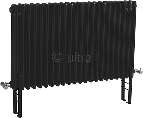 Triple Column Radiator With Legs (Black). 1011x600mm. additional image