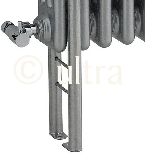 4 x Floor Mounting Colosseum Radiator Legs (Silver). additional image