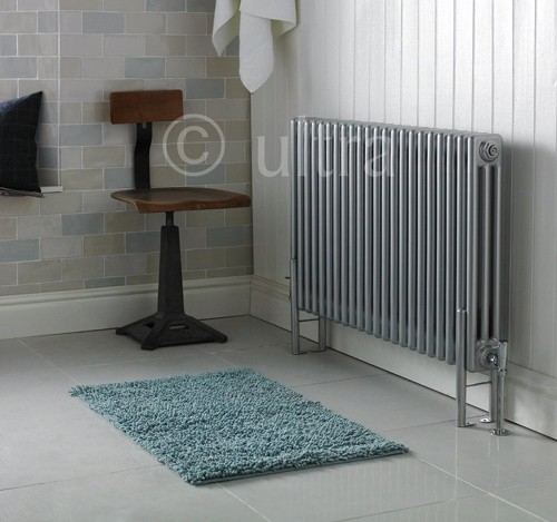 Triple Column Radiator With Legs (Silver). 1011x600mm. additional image