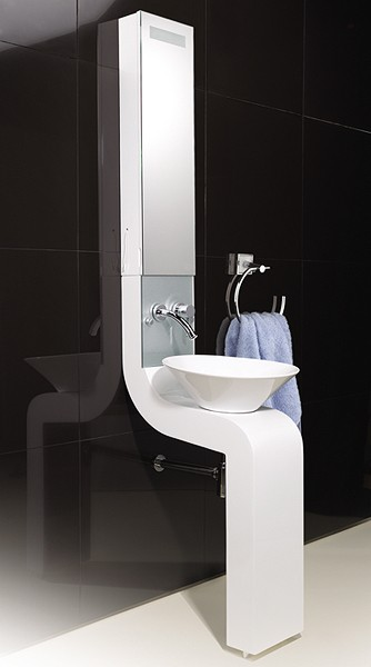 Vanity Unit With Cabinet, Basin & Tap (White).  250x2010mm. additional image