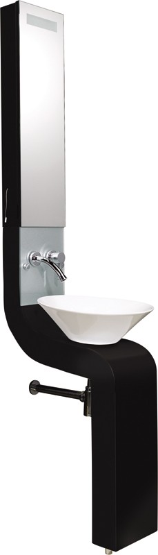 Vanity Unit With Cabinet, Basin & Tap (Black).  250x2010mm. additional image