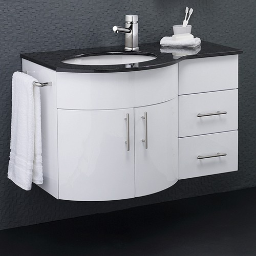 Wall Vanity Unit With Granite Top  Left Handed  870x550mm  additional image. Wall Vanity Unit With Granite Top  Left Handed  870x550mm  Hudson