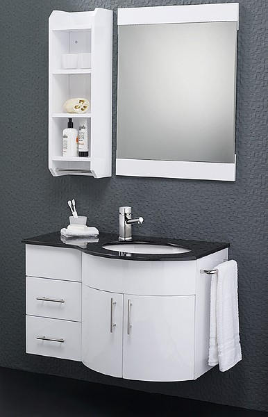 Wall Hung Bathroom Furniture Pack (Right Hand, Granite). additional image