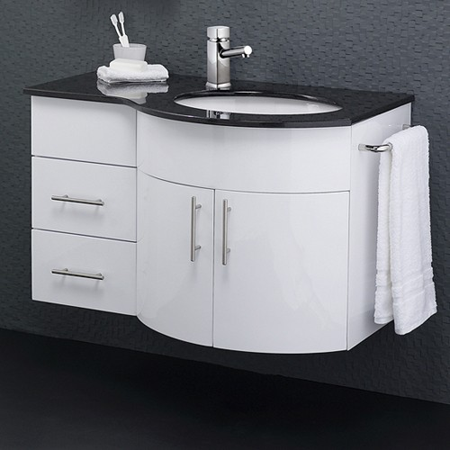 Wall Vanity Unit With Granite Top. Right Handed, 870x550mm. additional image