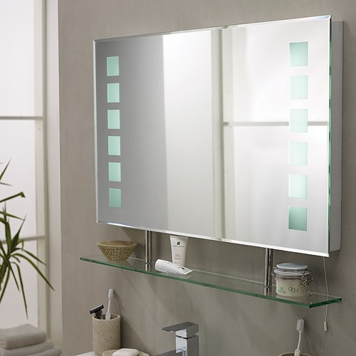 ultra mirrors latitude backlit bathroom mirror with shelf 800x500mm