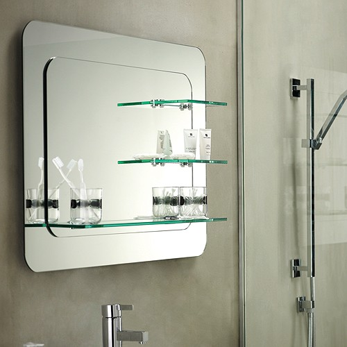 Trilogy Bathroom Mirror With Shelves. 800x600mm. Additional Image