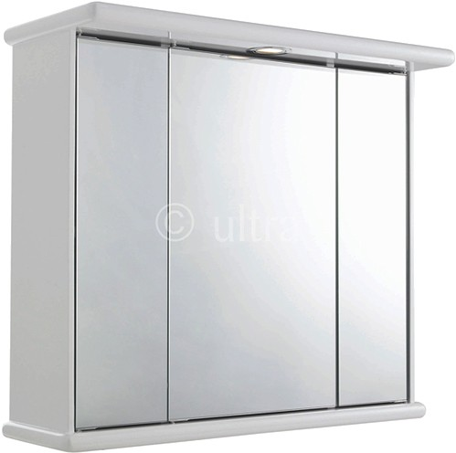 Cryptic 3 Door Mirror Cabinet, Light & Shaver. 700x620x270mm. additional image