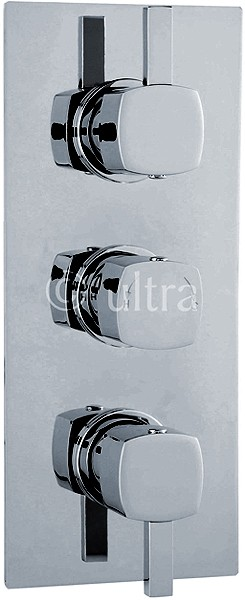 Triple Concealed Thermostatic Shower Valve (Chrome). additional image