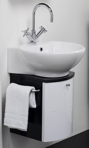 Wall Hung Vanity Set (Black & White). 300x600x373mm. additional image