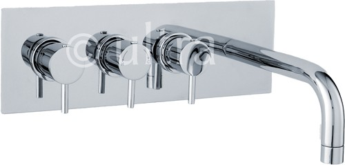 Wall Mounted Thermostatic Triple Bath Filler Tap (Chrome). additional image