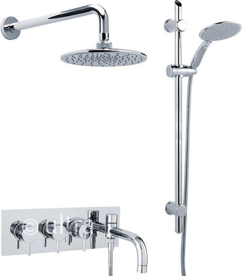 Thermostatic Bath Filler Tap, Slide Rail Kit, Shower Head & Diverter ...