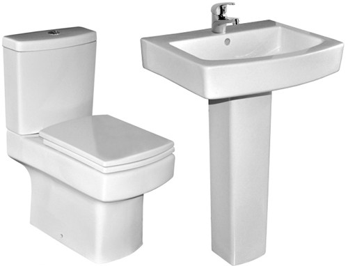 4 Piece Bathroom Suite With Toilet, Seat & 550mm Basin. additional image