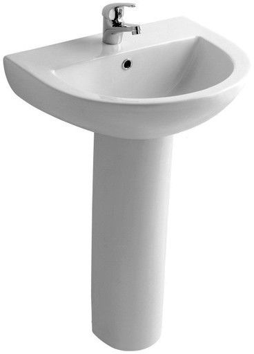 Basin & Pedestal (1 Tap Hole).  Size 550x420mm. additional image