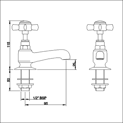 Heavy Pattern Basin taps (Pair, Chrome) additional image